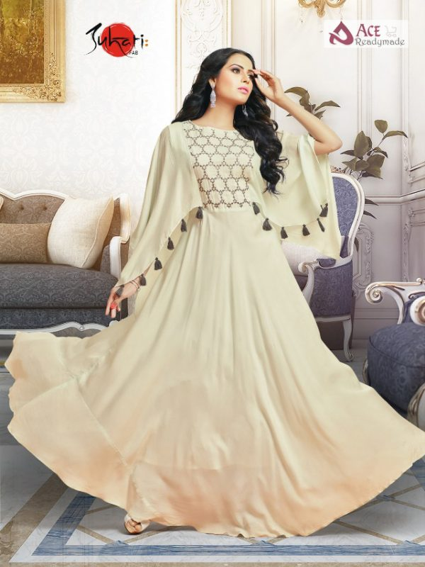 56c61e88399 Cream colored stylish design Suhati Fab launched party wear gown